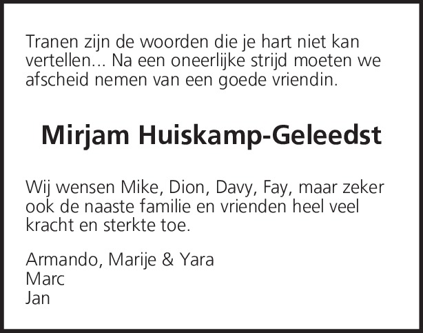 Overlijdensbericht van Mirjam Huiskamp - Geleedst in Mensenlinq