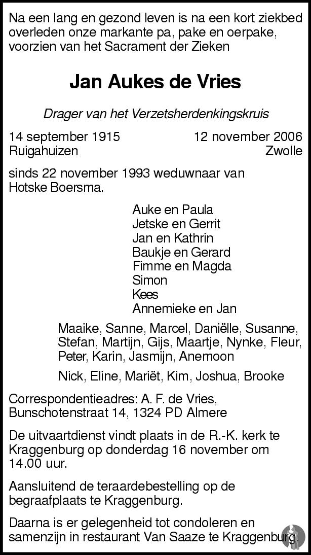 Overlijdensbericht van Jan Aukes de Vries in Leeuwarder Courant