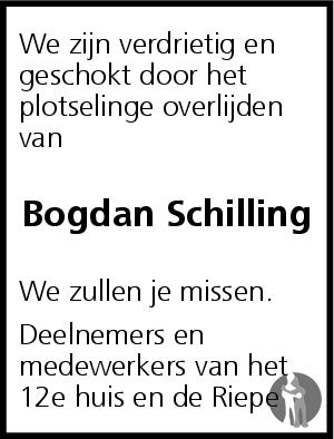 Overlijdensbericht van Bogdan Schilling in Dagblad van het Noorden