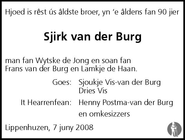 Overlijdensbericht van Sjirk Frânses van der Burg in Leeuwarder Courant