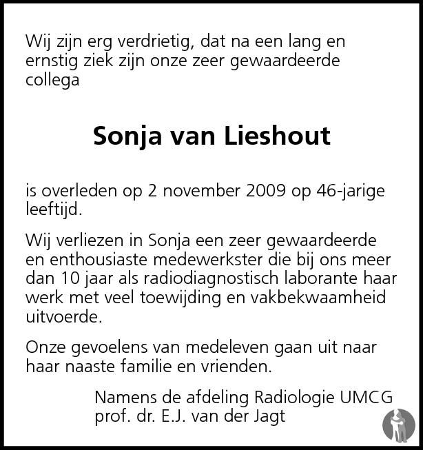 Overlijdensbericht van Sonja van Lieshout in Dagblad van het Noorden
