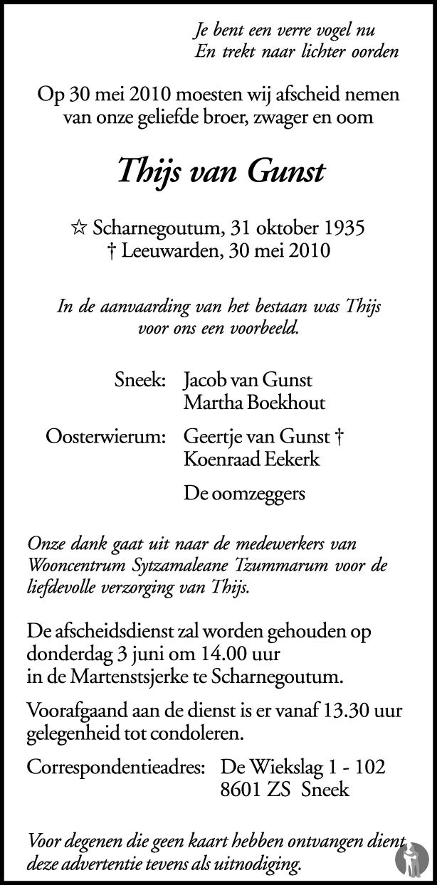 Thijs Van Gunst 30 05 2010 Overlijdensbericht En Condoleances