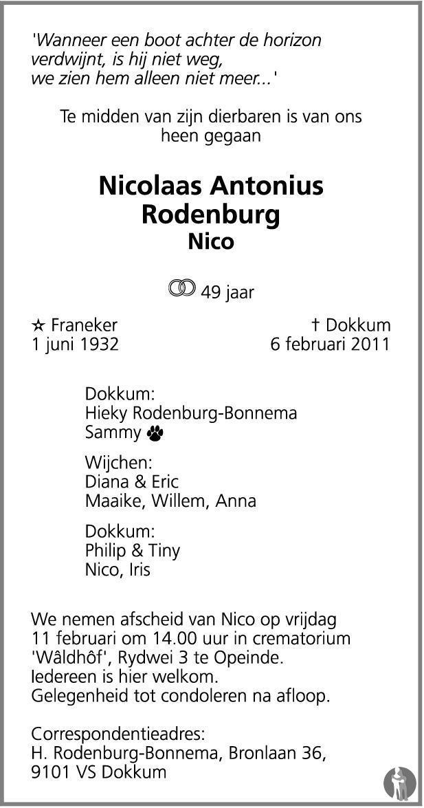 Overlijdensbericht van Nicolaas Antonius (Nico) Rodenburg in Leeuwarder Courant