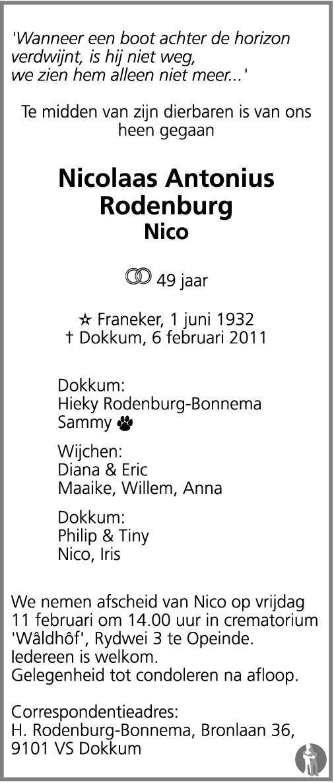 Overlijdensbericht van Nicolaas Antonius (Nico) Rodenburg in Dockumer Courant