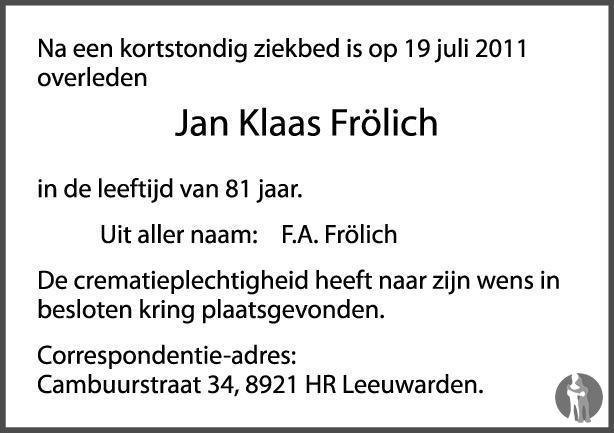 Overlijdensbericht van Jan Klaas Frölich in Leeuwarder Courant