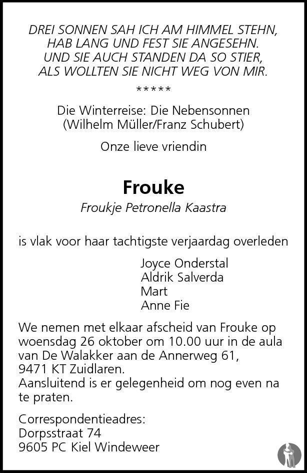 Froukje Petronella Frouke Kaastra 23 10 2011 Overlijdensbericht
