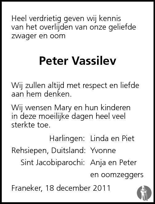 Overlijdensbericht van Peter Vassilev in Franeker Courant