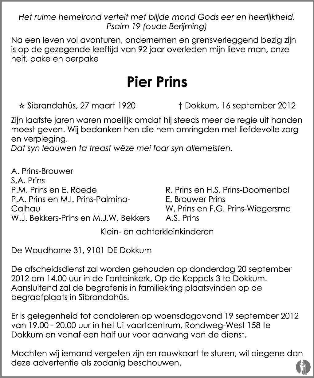 Overlijdensbericht van Pier Prins in Dockumer Courant