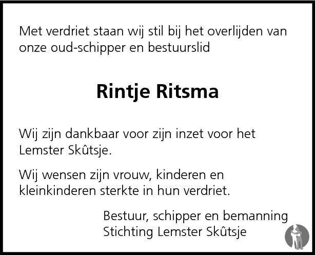 Overlijdensbericht van Rintje Ritsma in Zuid-Friesland