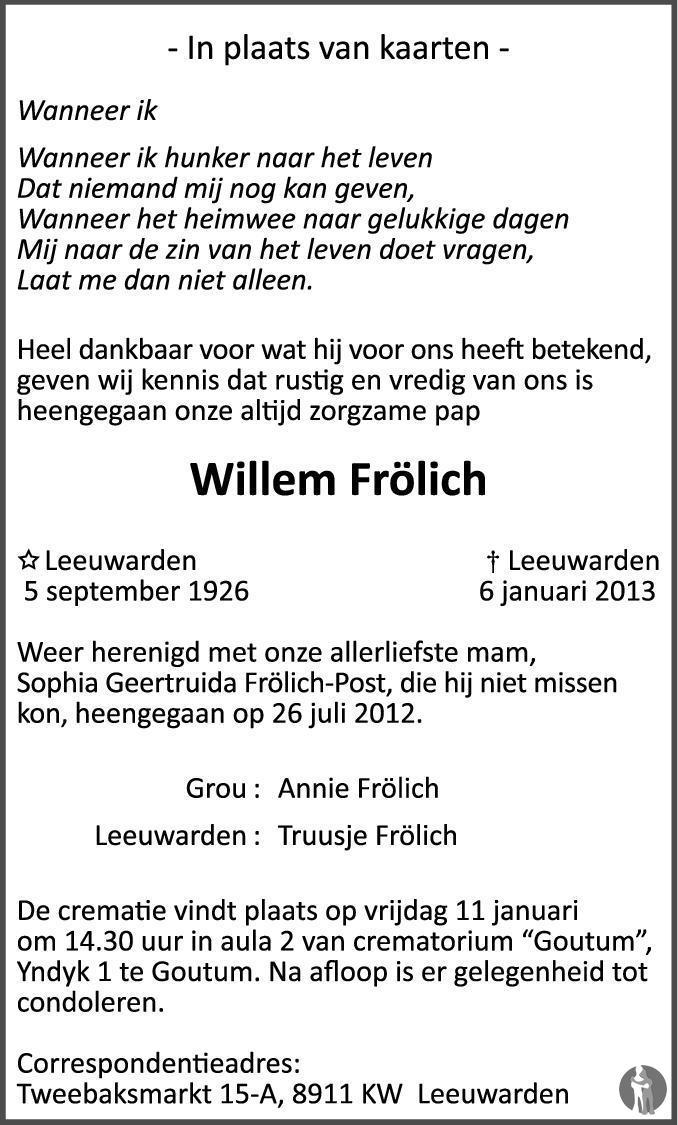 Overlijdensbericht van Willem Frölich in Leeuwarder Courant