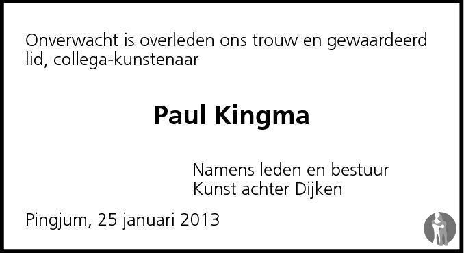 Overlijdensbericht van Paul Kingma in Leeuwarder Courant