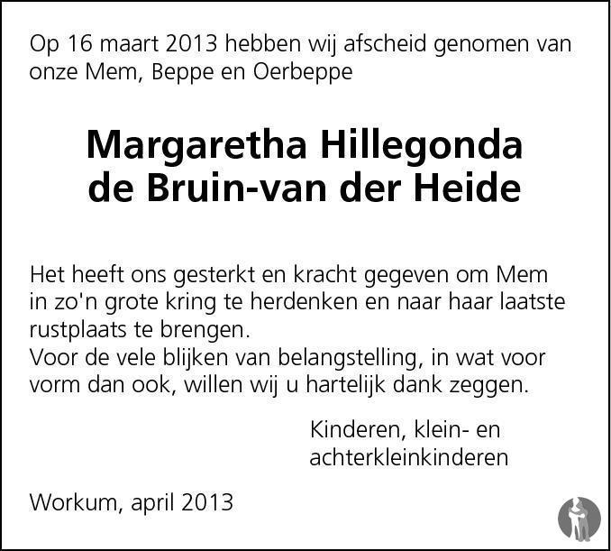 Overlijdensbericht van Margaretha Hillegonda (Greta) de Bruin - van der Heide in Leeuwarder Courant