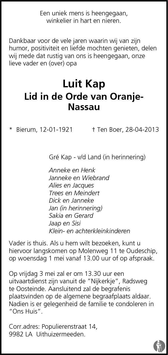 Overlijdensbericht van Luit Kap in Dagblad van het Noorden