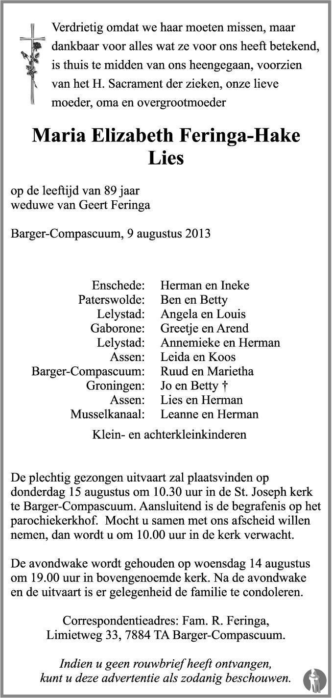 Overlijdensbericht van Maria Elizabeth (Lies) Feringa - Hake in Dagblad van het Noorden