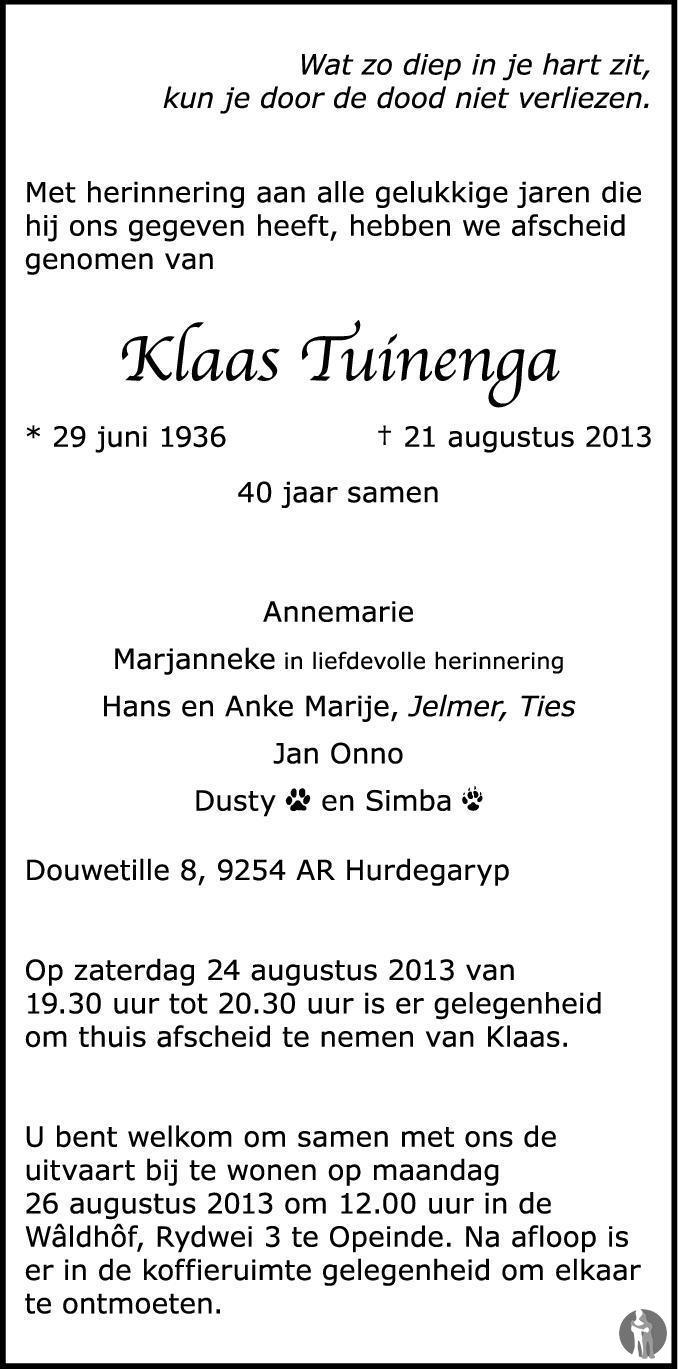 Klaas Tuinenga 21-08-2013 overlijdensbericht en ...