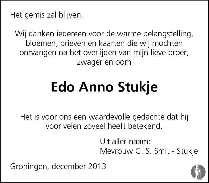 Overlijdensbericht van Edo Anno Stukje in Dagblad van het Noorden