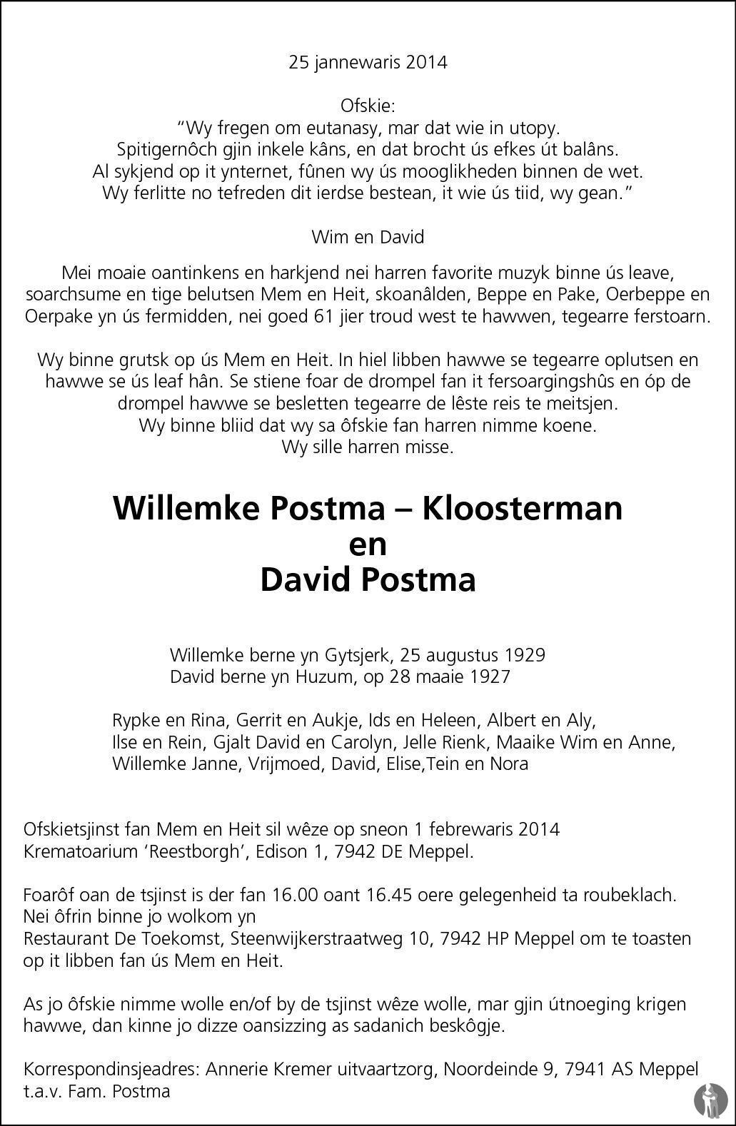 Overlijdensbericht van Willemke en David Postma - Kloosterman in Leeuwarder Courant