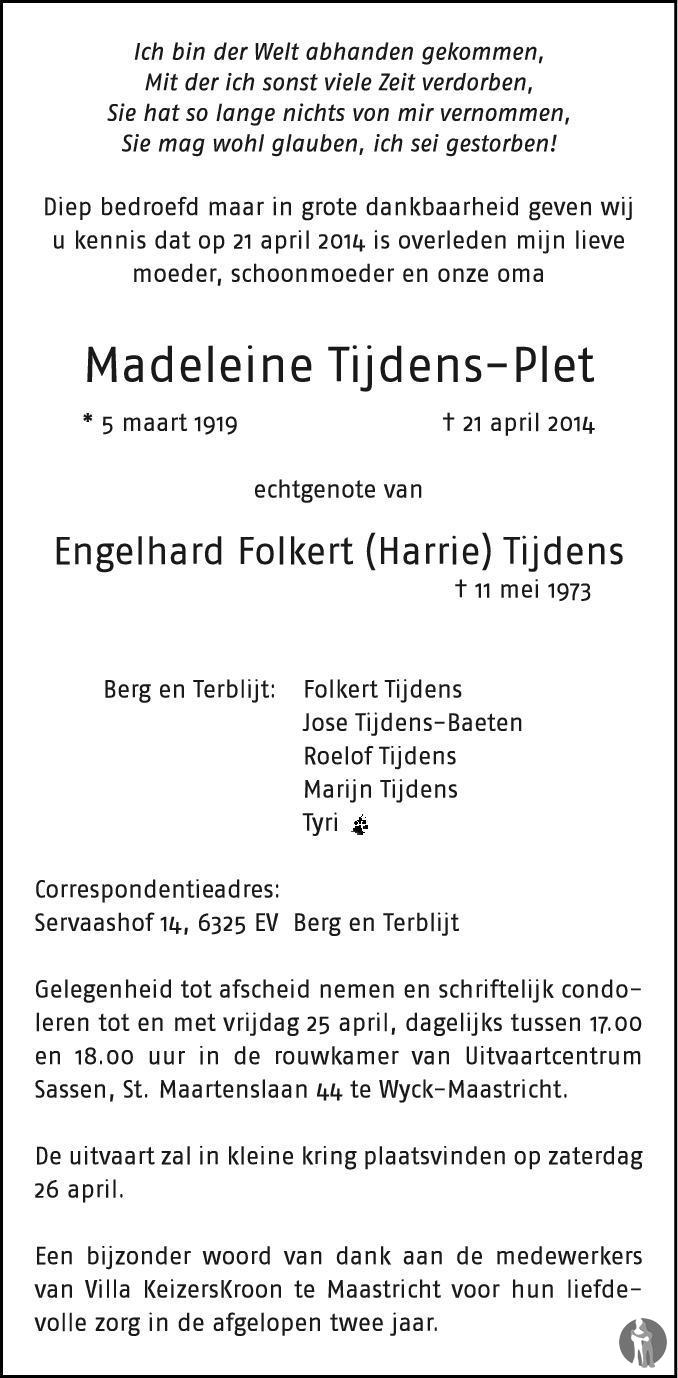 Overlijdensbericht van Madeleine Tijdens - Plet in Dagblad van het Noorden