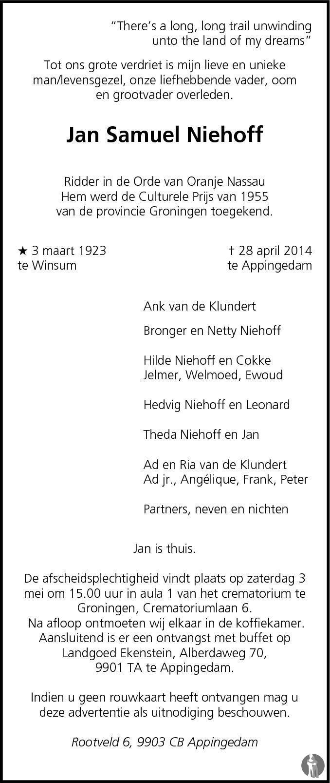 Overlijdensbericht van Jan Samuel Niehoff in Dagblad van het Noorden