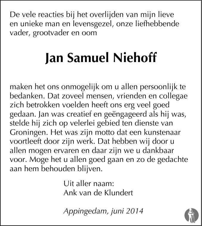 Overlijdensbericht van Jan Samuel Niehoff in Eemsbode/Noorderkrant