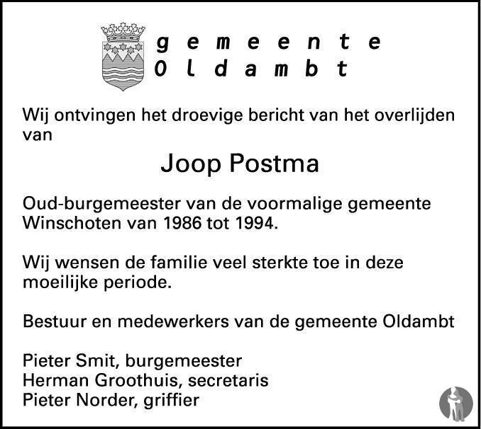 Overlijdensbericht van Jacob Johan Postma in Dagblad van het Noorden