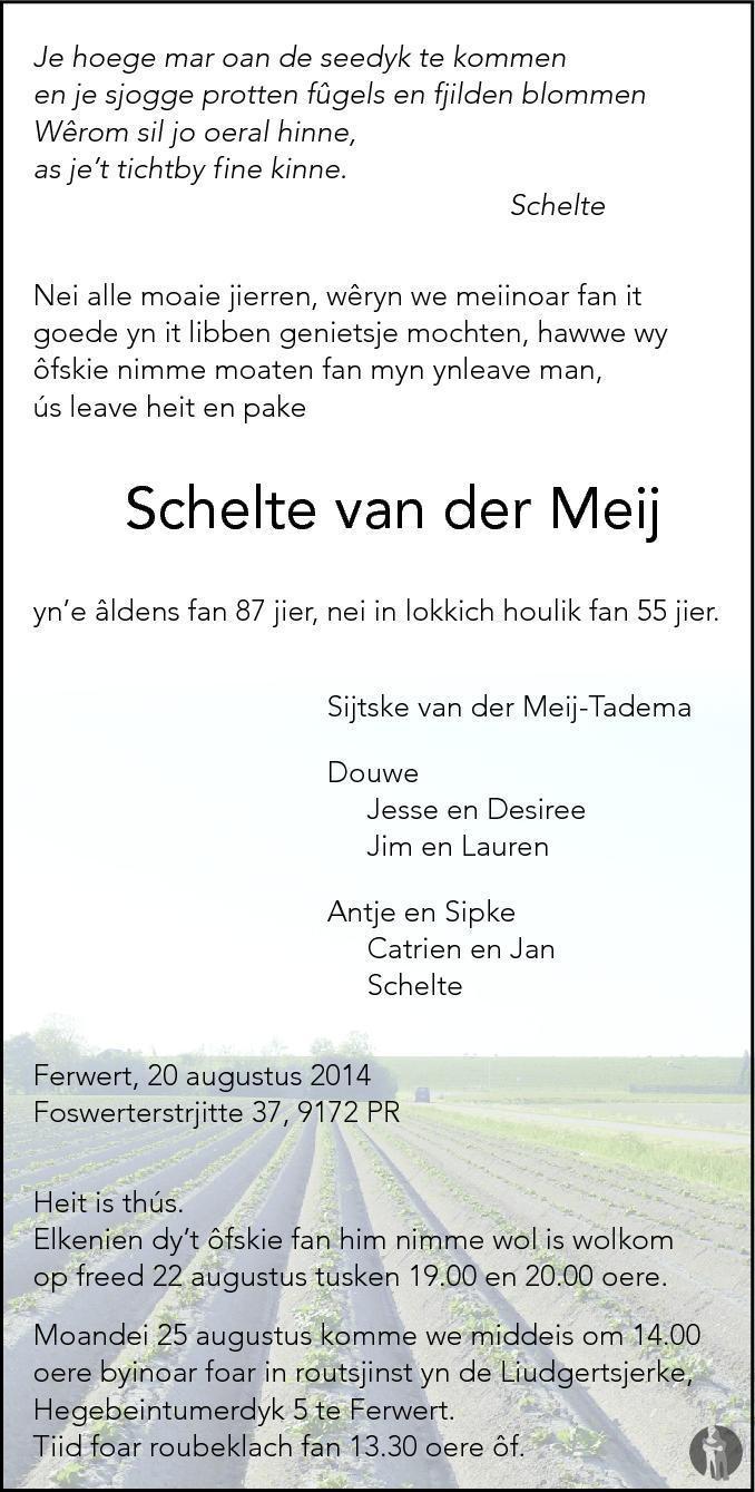Overlijdensbericht van  Schelte van der Meij in Friesch Dagblad