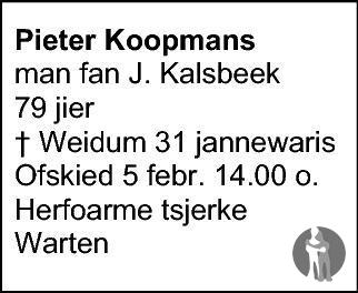 Overlijdensbericht van Pieter Koopmans in Friesch Dagblad