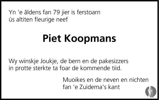Overlijdensbericht van Pieter Koopmans in Leeuwarder Courant