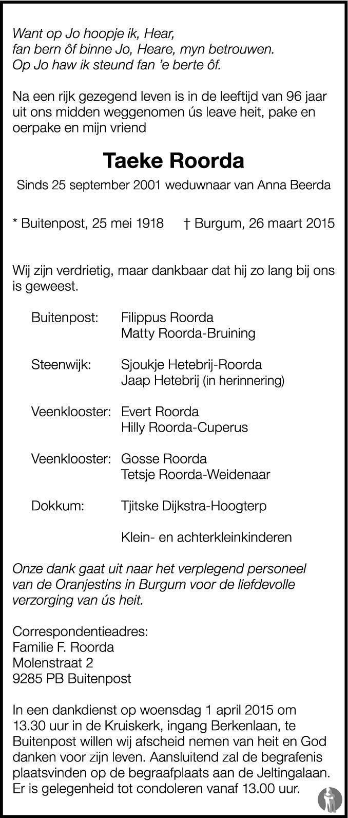 Overlijdensbericht van Taeke Roorda in Nieuwsblad Noordoost-Friesland