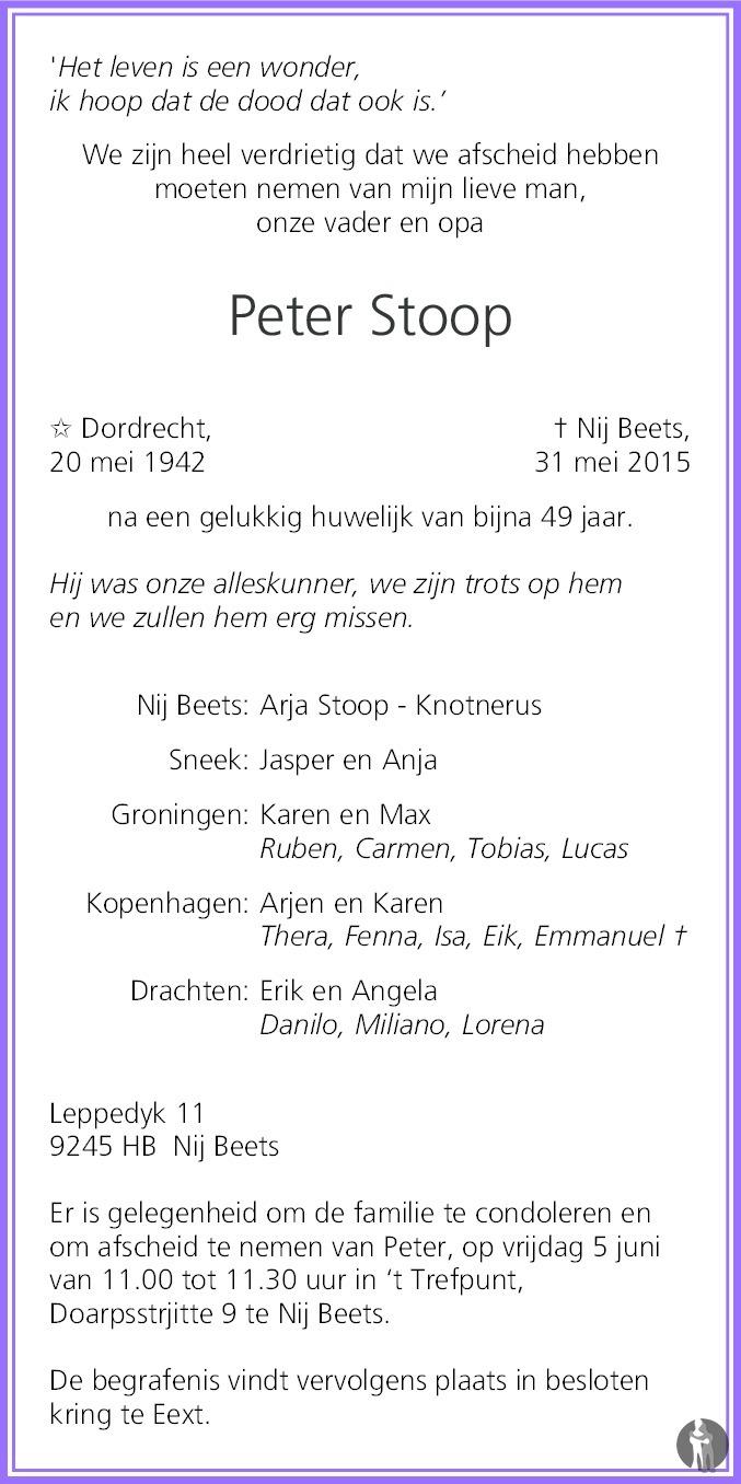 Peter stoop 31 05 2015 overlijdensbericht en condoleances for Stoop eindhoven