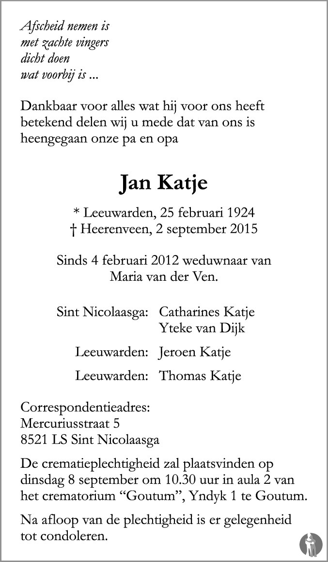 Overlijdensbericht van Jan Katje in Leeuwarder Courant