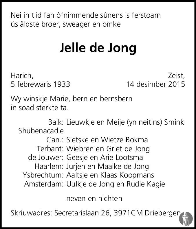 Overlijdensbericht van Jelle de Jong in Leeuwarder Courant