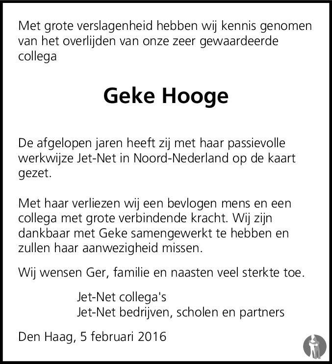 Overlijdensbericht van Geke Hooge - Bruins in Dagblad van het Noorden