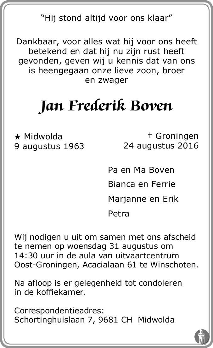 Overlijdensbericht van Jan Frederik Boven in Dagblad van het Noorden