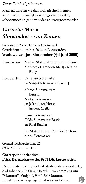Overlijdensbericht van Cornelia Maria Slotemaker - van Zanten in Leeuwarder Courant