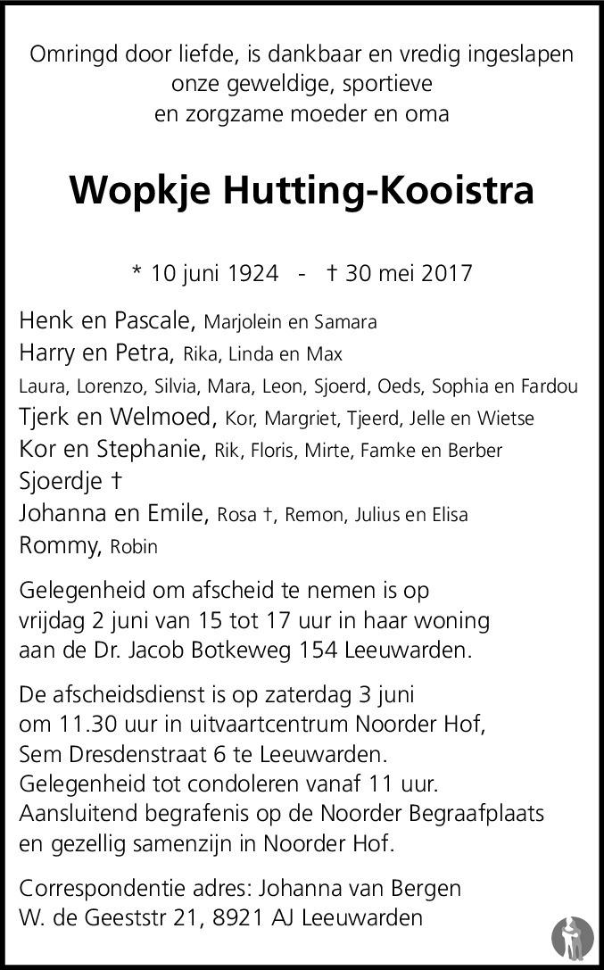 Overlijdensbericht van Wopkje Hutting - Kooistra in Leeuwarder Courant