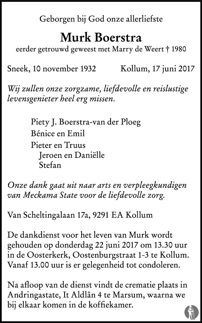 Overlijdensbericht van Murk Boerstra in Leeuwarder Courant