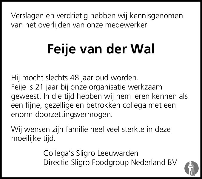 Overlijdensbericht van Feije Van der Wal in Leeuwarder Courant
