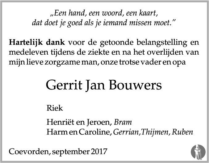 Overlijdensbericht van Gerrit Jan Bouwers in Dagblad van het Noorden