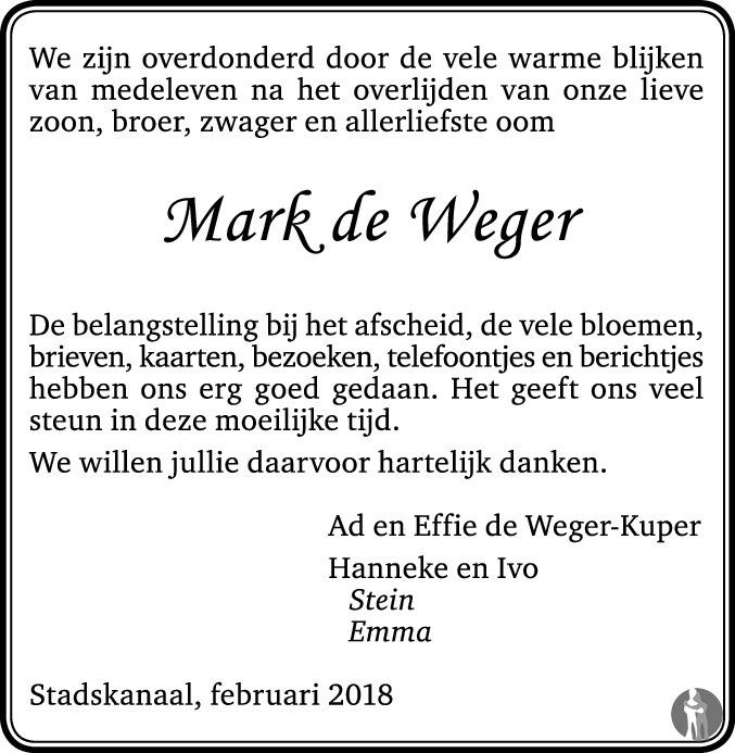 Overlijdensbericht van Marten Klaas (Mark) de Weger in Dagblad van het Noorden