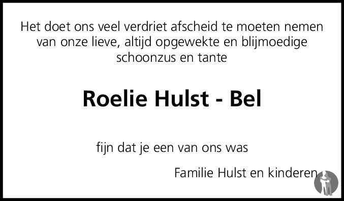Overlijdensbericht van Roelie Hulst - Bel in Dagblad van het Noorden