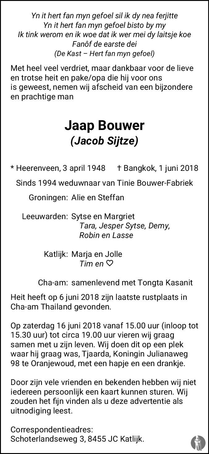 Jacob Sijtze Jaap Bouwer 01 06 2018 Overlijdensbericht