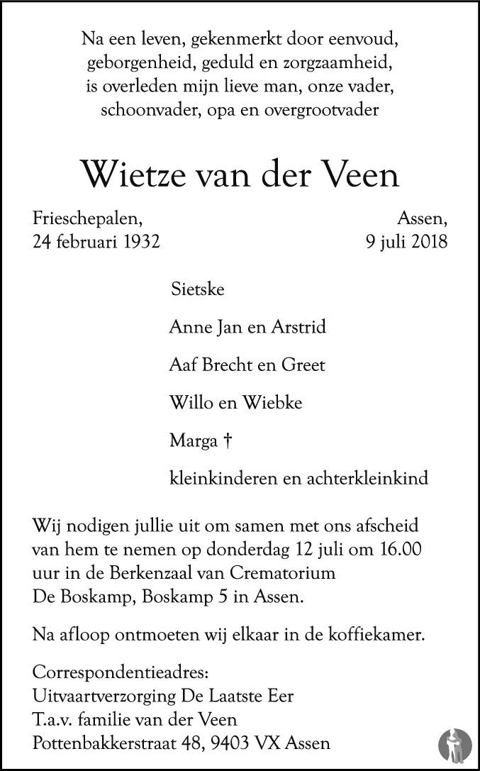 022058320bd Wietze van der Veen ✝ 09-07-2018 overlijdensbericht en condoleances ...