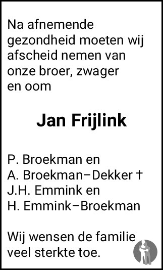 Overlijdensbericht van Jan Frijlink in Meppeler Courant