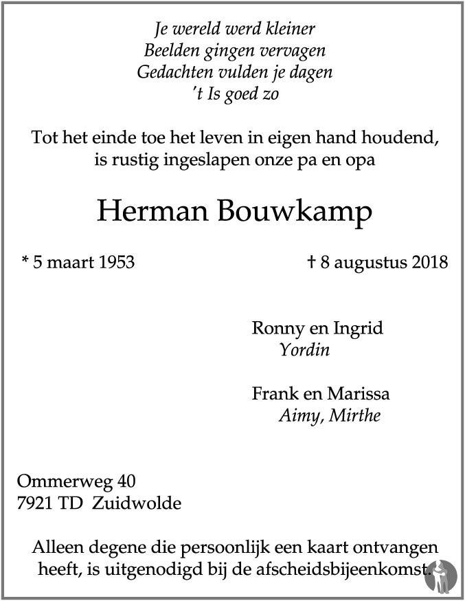 Overlijdensbericht van Herman Bouwkamp in Hoogeveensche Courant