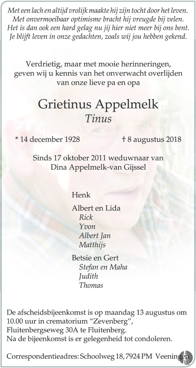 Overlijdensbericht van Grietinus (Tinus) Appelmelk in Meppeler Courant