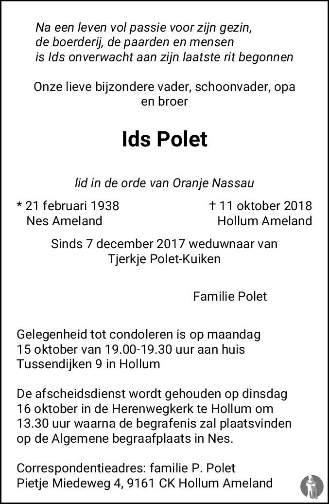 Opdateret Ids Polet ✝ 11-10-2018 overlijdensbericht en condoleances TG22