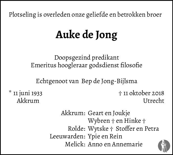 Overlijdensbericht van Prof. dr. Auke de Jong in Leeuwarder Courant
