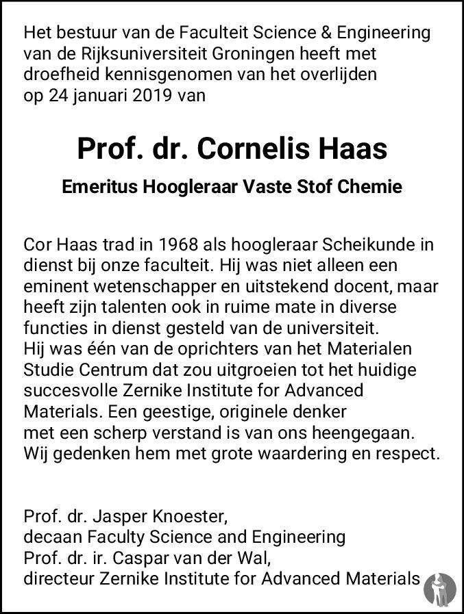 Overlijdensbericht van Prof. dr. Cornelis Haas  in Dagblad van het Noorden
