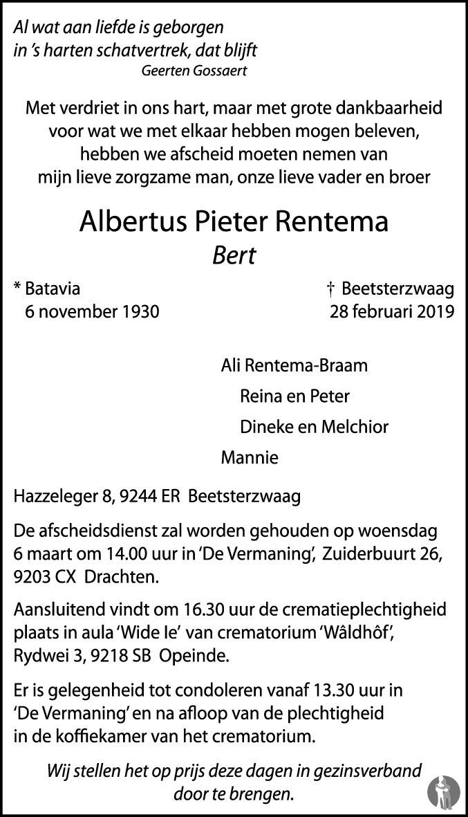 Overlijdensbericht van Albertus Pieter (Bert) Rentema in Leeuwarder Courant